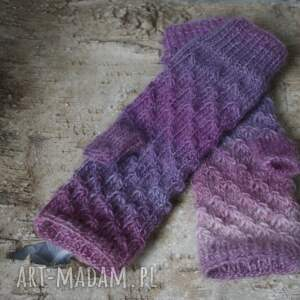 jaga11 rękawiczki: mitenki ombre w fioletach - Hand Made druty