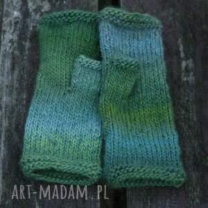 rękawiczki miękkie mitenki ombre zielone