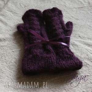 rękawiczki rękodzieło mitenki śliwkowe