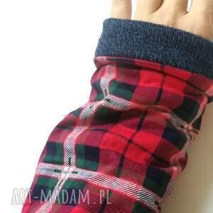 rękawiczki mitenki w kratkę ciepłe