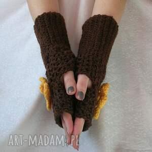 ręczne wykonanie rękawiczki rękawiczki, mitenki brąz z żółtym