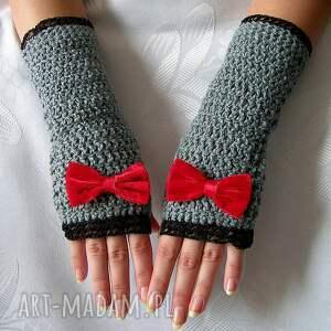 hand-made rękawiczki - mitenki szare