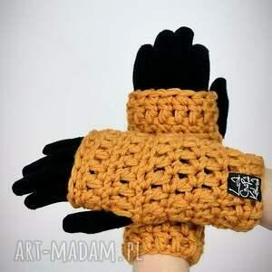 gustowne rękawiczki mitenki 15 - musztardowe