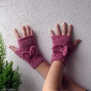 handmade rękawiczki mitenki pink pastel