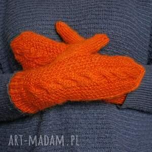 ręcznie wykonane rękawiczki ciepłe pomarańczowe