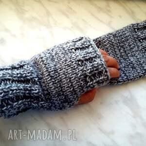 srebrne rękawiczki akrylowe popielate mitenki - wełniane