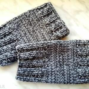 ręcznie wykonane rękawiczki akrylowe popielate mitenki - wełniane