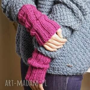 frapujące rękawiczki bezszwowe rękawki wykonane ręcznie na drutach