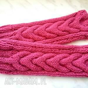 niepowtarzalne rękawiczki pudrowe różowe mitenki