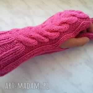 rękawiczki wełniane różowe mitenki