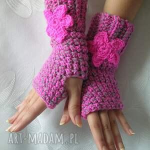 urokliwe rękawiczki różowo szare mitenki