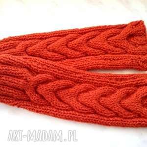 efektowne rękawiczki rude mitenki na jesień - wełniane