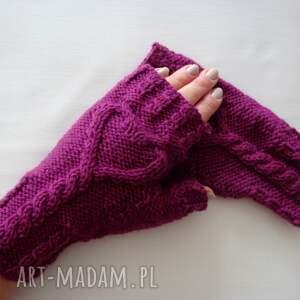 rękawiczki purpurowe serduszka