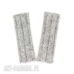 rękawiczki bez palców szare mitenki z wełną zrobione