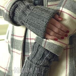 hand-made rękawiczki rękawki szare