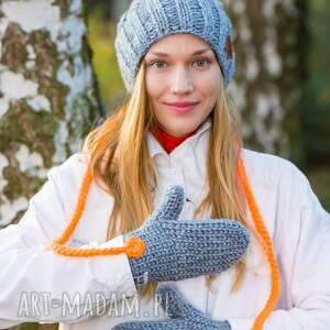 rękawiczki wełniane szary z nutą
