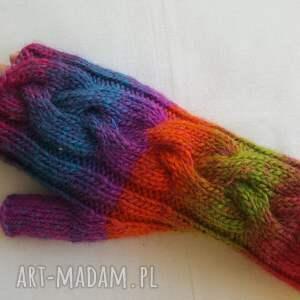 rękawiczki modne tęczowe niebiańsko