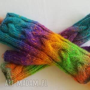 hand made rękawiczki ciepłe tęczowe słoneczne