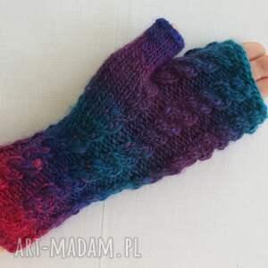 efektowne rękawiczki ciepłe tęczowe z granatem