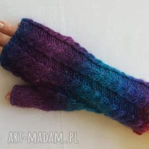 wełniane rękawiczki tęczowe z granatem