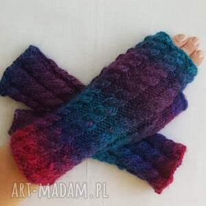 rękawiczki wełniane tęczowe z granatem