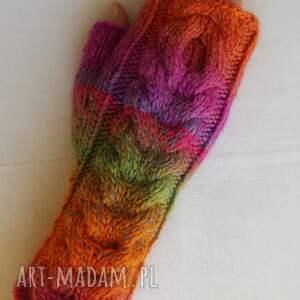 kolorowe rękawiczki tęczowe z różem