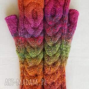 rękawiczki kolorowe tęczowe z różem