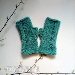niepowtarzalne rękawiczki mitenki turkusowe