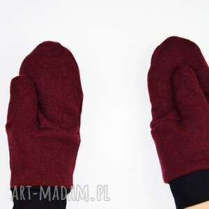 czerwone rękawiczki jednopalczatki wełniane mozga - bordowe