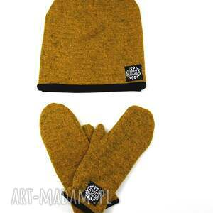 żółte rękawiczki jednopalczatki wełniane mozga