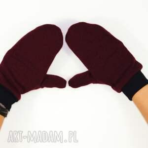 handmade rękawiczki jednopalczatki wełniane mozga - bordowe