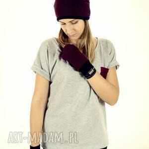zimowe rękawiczki wełniane mozga - bordowe
