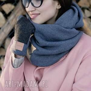 szare rękawiczki eleganckie wygodne wełniane rękawice z motywem