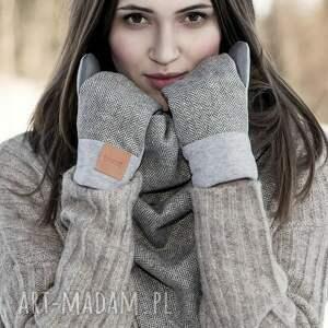 czarne rękawiczki eleganckie wygodne wełniane rękawice z motywem