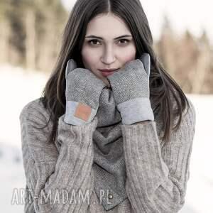 eleganckie rękawiczki wygodne wełniane rękawice z motywem
