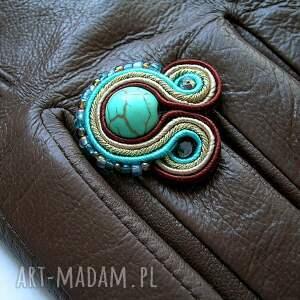 eleganckie rękawiczki turkus ze skóry naturalnej