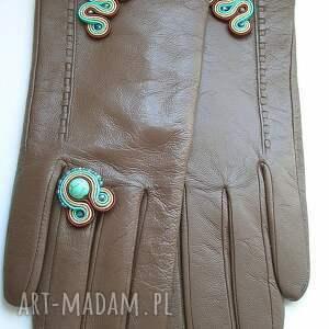 turkus rękawiczki brązowe ze skóry naturalnej