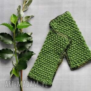 The Wool Art rękawiczki: zielone mitenki - jesienne