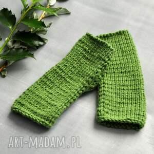 The Wool Art rękawiczki: zielone mitenki - nadrutach rekawiczki