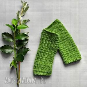 rękawiczki: zielone mitenki - nadrutach jesienne