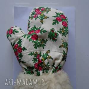 różowe rękawiczki zimowe folk design aneta