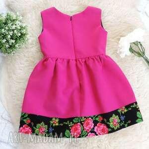 folk różowa sukienka góralska folkowa