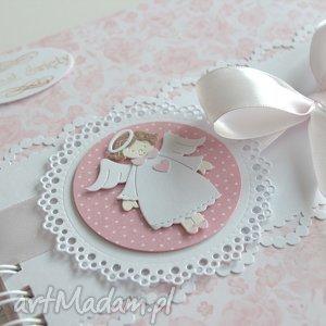 różowe scrapbooking albumy album dla dziewczynki - chrzest
