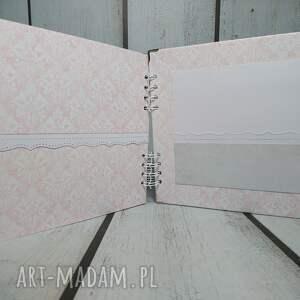 chrzest scrapbooking albumy różowe album - mały miś