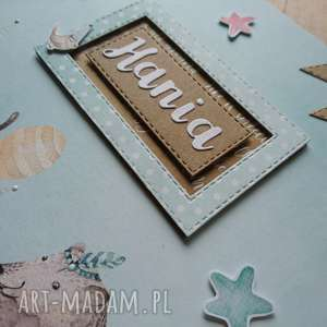 brązowe scrapbooking albumy prezent album - miętowa