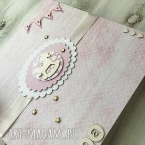 różowe scrapbooking albumy album - różowy z konikiem
