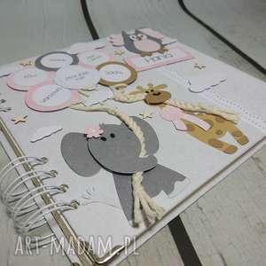 zwierzak scrapbooking albumy różowe album - sowa, słonik i