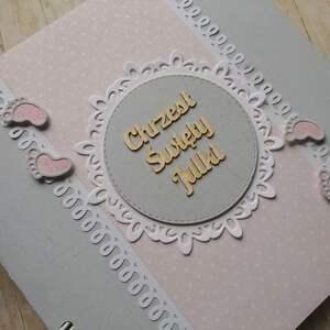 białe scrapbooking albumy stópki album - tup tup w różu