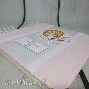 białe scrapbooking albumy chrzest elegancki album z gołąbkiem/hostią