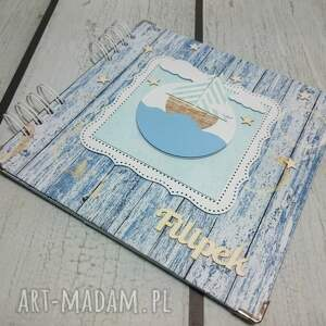 marynarski scrapbooking albumy niebieskie album na zdjęcia.